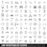 100 vegetables icons set, outline style Royalty Free Stock Photography