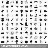 100 vegetables icons set, simple style Stock Image