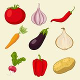 Vegetables icons set Royalty Free Stock Photos