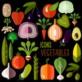 Vegetables icons: vector set of flat colorful food Royalty Free Stock Images