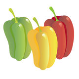 Vegetables2-03. Image of red, green and yellow pepper on a white background Stock Photography
