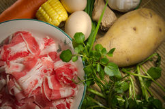 Vegetables ingredient and fat beef Stock Images