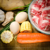 Vegetables ingredient and fat beef slices Royalty Free Stock Images