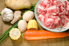 Vegetables ingredient and fat beef slices Stock Photos