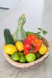 Vegetables inside cork basket Stock Photography