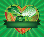 Vegetables inside heart shaped banner Royalty Free Stock Photo
