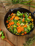 Vegetables in  iron skillet Stock Photo