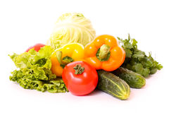Vegetables isolated on white Stock Photos