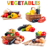 Vegetables isolated on white. Background stock photos