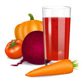 Vegetables juice. Tomato, carrot, pumpkin and beets. Stock Photo