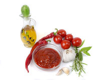 Vegetables and ketchup Royalty Free Stock Photos