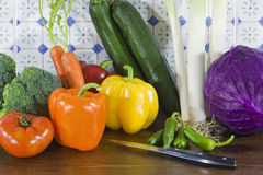 Vegetables in the kitchen. Still life with fresh vegetables in a kitchen ready to be cooked Royalty Free Stock Photos