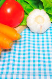Vegetables on a kitchen cloth. Closeup of most common vegetables on a kitchen cloth Royalty Free Stock Photo