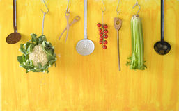 Vegetables and kitchen utensils Royalty Free Stock Photo