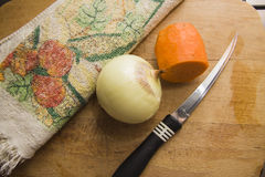 Vegetables and knife from above Royalty Free Stock Images