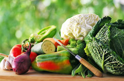 Vegetables and knife Royalty Free Stock Images