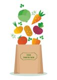 Vegetables in kraft bag Stock Photo