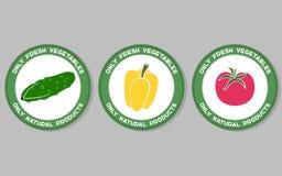 Vegetables Labels Set Stock Photos