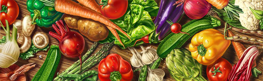 Vegetables laying on a table. Royalty Free Stock Photography