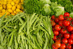 Vegetables and lemons. Several kinds of fresh organic vegetables and fruit Stock Photography