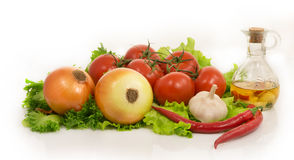 Vegetables - lettuce, onion, garlic,chilli pepper, tomatoes and Royalty Free Stock Photo