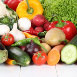 Vegetables like tomatoes, paprika, mushrooms, lettuce and carrot Royalty Free Stock Images