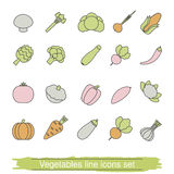 Vegetables line icons Stock Image