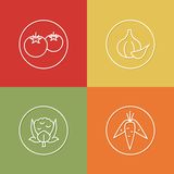 Vegetables linear icons set 03 Stock Image