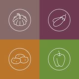 Vegetables linear icons set 01 Stock Photography