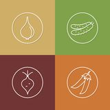 Vegetables linear icons set 02 Stock Photography