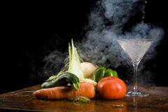 Vegetables and liquid nitrogen Royalty Free Stock Images
