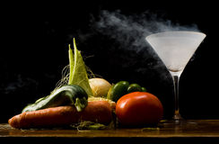 Vegetables and liquid nitrogen Royalty Free Stock Photo