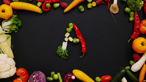 Vegetables made letter A Royalty Free Stock Images