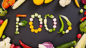 Vegetables made word food Stock Photos