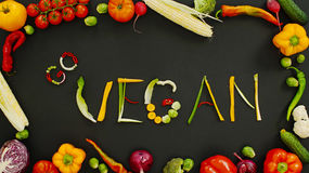Vegetables made word Go Vegan Royalty Free Stock Images