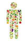 Vegetables man silhouette. Royalty Free Stock Image