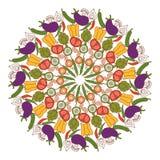Vegetables mandala. Veggies mandala with various healthy vegetables vector illustration