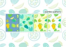 Vegetables, mango, Lemon seamless pattern for label and designs stock photography