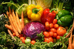 Vegetables. Many vegetables in the blown basket Stock Photo