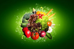 Vegetables. Many different colorful vegetables locations Stock Photos