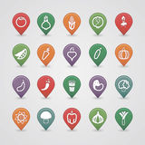 Vegetables mapping pins icons Stock Images