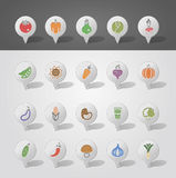 Vegetables mapping pins icons Royalty Free Stock Photos