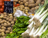 Vegetables at market. A variety of fresh vegetables or produce for sale at a market Stock Photography
