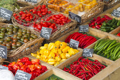 Vegetables on market. Various fresh vegetables presented in baskets for sale on a market Royalty Free Stock Image