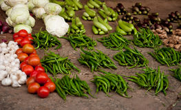 Vegetables on a market. Fresh colors of vegetables on a market royalty free stock photos
