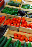 Vegetables on the market. Fresh vegetables for sale on french farmers market in Perigueux, France Stock Photography