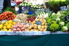 Vegetables at the market. Fruits and vegetables market in Barcelona (La Boqueria Royalty Free Stock Image