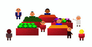 Vegetables market. An active vegatbles and friuts market Royalty Free Illustration