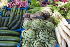 Vegetables on market. Artichokes, radishes, cucumbers and other vegetables on market stall Royalty Free Stock Image