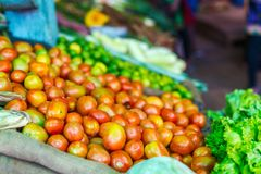Vegetables at market. Close up of fresh organic tomatos at outdoor market Royalty Free Stock Images
